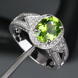 Oval Peridot Engagement Ring Pave Diamond Wedding 14K White Gold 7x9mm Milgrain - Lord of Gem Rings - 4