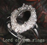 Diamond Engagement Semi Mount Ring 14K White Gold Setting Oval 8x12mm - Lord of Gem Rings - 2