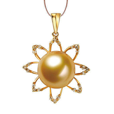 11mm South Sea Pearl Flower 18K Yellow Gold .24ctw Diamonds pendant for Necklace - Lord of Gem Rings - 1