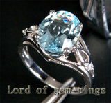 Oval Aquamarine Engagement Ring Diamond Wedding 14K White Gold 8x10mm Unique - Lord of Gem Rings - 3
