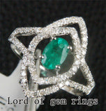 Oval Emerald Engagement Ring Pave Diamond Wedding 14K White Gold 4x6mm  Unique - Lord of Gem Rings - 2