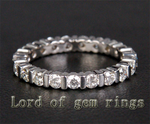 Unique Bezel .85ct Diamond Solid 14k White Gold Wedding Eternity Band Ring 2.87g - Lord of Gem Rings - 1