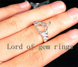 Diamond Engagement Semi Mount Ring 14K White Gold Setting Heart Shaped 12mm - Lord of Gem Rings - 4