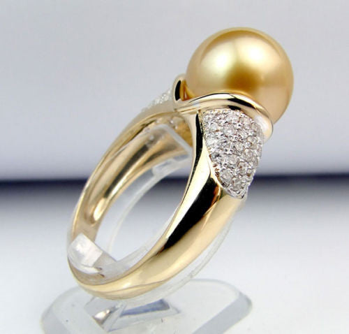 11mm South Sea Pearl .55CT Diamonds Engagement Ring in 14K Yellow Gold - Lord of Gem Rings - 1