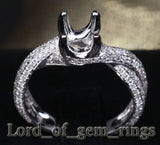 Diamond Engagement Semi Mount Ring 14K White Gold Setting Round 6.5mm - VS/H - Lord of Gem Rings - 2