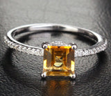 Princess Citrine Engagement Ring Pave Diamond Wedding 14K White Gold 6x6mm - Lord of Gem Rings - 1