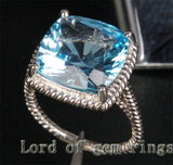 Cushion Blue Topaz Engagement Ring 14K White Gold 13x13mm Natural 10.5CT - Lord of Gem Rings - 2