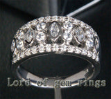 Unique Bezel 1.32CT Diamond Wedding Band Ring in 14K White Gold, 9.5mm! - Lord of Gem Rings - 2