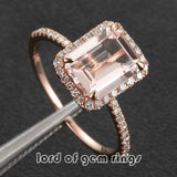 Ready to Ship -5x7mm Emerald Cut Morganite &  Pave Diamond Halo Engagement Ring 14K Rose Gold: 14KR-EmMorg-57 - Lord of Gem Rings - 2