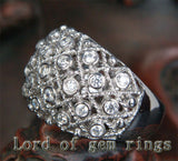 Unique Bezel .66CT Diamonds Filigrain Wedding Band Ring in 14K White Gold, 10.05g! - Lord of Gem Rings - 4