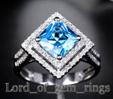 PRINCESS BLUE TOPAZ Engagemnt RING Pave DIAMOND Wedding 14K WHITE GOLD 7.5mm Double Halo - Lord of Gem Rings - 2