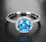 Round Blue Topaz Engagement Ring Pave Diamond Wedding 14k White Gold 7mm - Lord of Gem Rings - 2