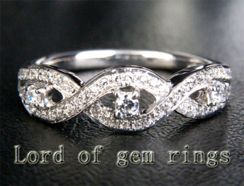Pave Diamond Wedding Band Half Eternity Anniversary Ring 14K White Gold - Lord of Gem Rings - 1