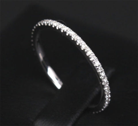 Pave Diamond Wedding Band Eternity Anniversary Ring 14k White Gold -VS/H - Lord of Gem Rings - 1