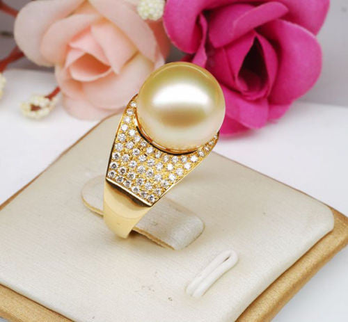 11mm South Sea Pearl .65CT Diamonds Engagement Ring in 14K Yellow Gold - Lord of Gem Rings - 1
