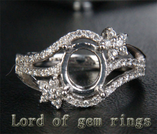 Unique 6x8mm Oval Cut Engagement Semi Mount Ring in 14K White Gold .32CT Diamond 6# - Lord of Gem Rings - 1
