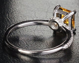 Princess Citrine Engagement Ring Pave Diamond Wedding 14K White Gold 6x6mm - Lord of Gem Rings - 4
