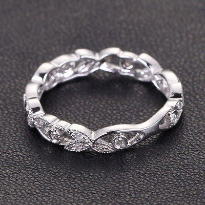 Diamond Wedding Band Eternity Anniversary Ring 14K White Gold Antique Style - Lord of Gem Rings - 1