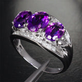 Oval Amethyst Engagement Ring Pave Diamond Wedding 14K White Gold 6x8mm - 3 stones - Lord of Gem Rings - 2