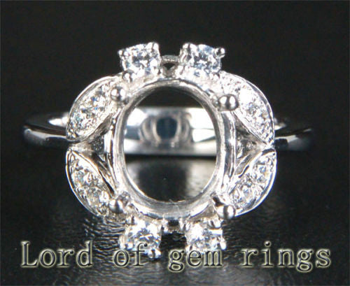 Diamond Engagement Semi Mount Ring 14K White Gold Setting Oval 8x10mm - Lord of Gem Rings - 1