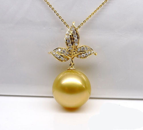 10mm South Sea pearl Solid 14K Yellow Gold VS-SI Diamonds pendant For Necklace - Lord of Gem Rings - 1