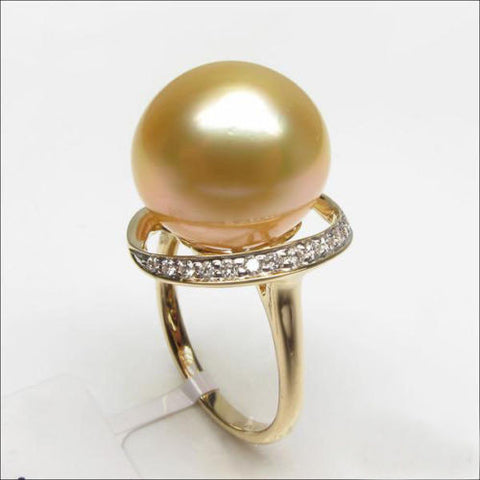 Unique Design 11mm South Sea Pearl 14K Yellow Gold Pave H/SI Diamond Ring Size 6 - Lord of Gem Rings - 1