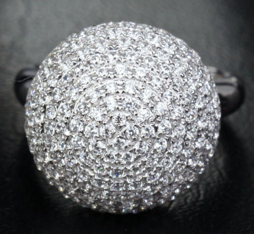 Unique Ball Pave 3.82CT Diamonds Fashion Engagement Ring 14K White Gold, 8.96g! - Lord of Gem Rings - 1