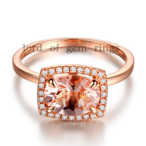 Oval Morganite Engagement Ring Pave Diamonds Cushion Halo14K Rose Gold 6x8mm - Lord of Gem Rings - 1