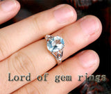 Oval Aquamarine Engagement Ring Diamond Wedding 14K White Gold 8x10mm Unique - Lord of Gem Rings - 4