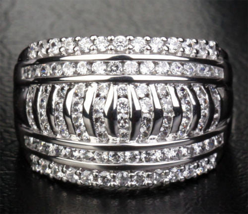 Unique Channel 1.15CT Diamonds Solid 14K White Gold Wedding Band Engagement Ring - Lord of Gem Rings - 1