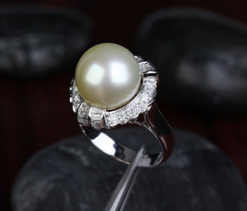 12.35mm South Sea Pearls VS/H 1.0CT Diamond Engagement Ring 14K White Gold - Lord of Gem Rings - 1