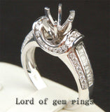 Diamond Engagement Semi Mount Ring 14K White Gold Setting Round 6.5mm Channel - VS Diamonds - Lord of Gem Rings - 3