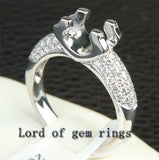 Diamond Engagement Semi Mount Ring 14K White Gold Setting Round 5.5-6mm - Lord of Gem Rings - 2