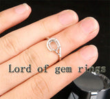 Unique 6x8mm Oval Cut Engagement Wedding Semi Mount Ring 14K White Gold Diamonds - Lord of Gem Rings - 4