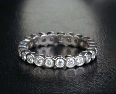 Diamond Wedding Band Eternity Anniversary Ring 14K White Gold Bezel Set - Lord of Gem Rings - 1
