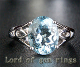 Oval Aquamarine Engagement Ring Diamond Wedding 14K White Gold 8x10mm Unique - Lord of Gem Rings - 1