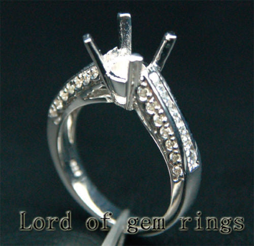Diamond Engagement Semi Mount Ring 14K White Gold Setting Round 6.5-7.5mm - Lord of Gem Rings - 1