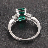 Emerald Cut Emerald Engagement Ring VS Baguette Diamond Wedding 14K White Gold 6x8mm  Claw Prongs - Lord of Gem Rings - 4