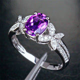 Oval Dark Amethyst Engagement Ring Pave Diamond Wedding 14k White Gold 6x8mm - Bowknot - Lord of Gem Rings - 4