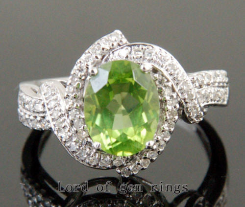 Oval Peridot Engagement Ring Pave Diamond Wedding 14K White Gold 7x9mm - Lord of Gem Rings - 1