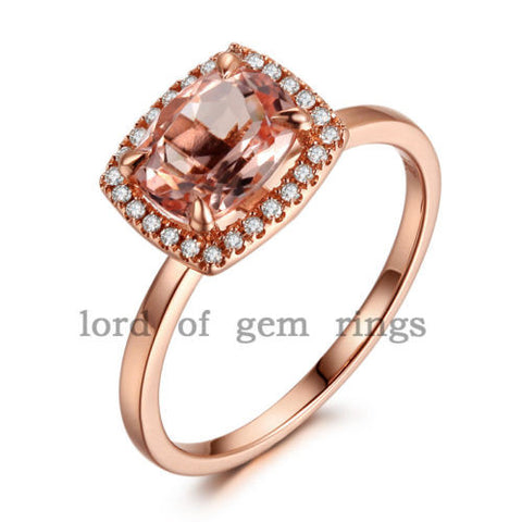 Cushion Morganite Engagement Ring Diamond Halo 14K Rose Gold 6x8mm - Lord of Gem Rings - 1