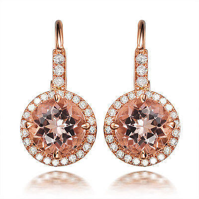 Claw Prongs VS 6mm Round Morganite Pave Diamonds Earrings in 14K Rose Gold - Lord of Gem Rings - 1