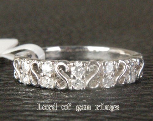 Diamond Wedding Band Half Eternity Anniversary Ring 14K White Gold - Lord of Gem Rings - 1
