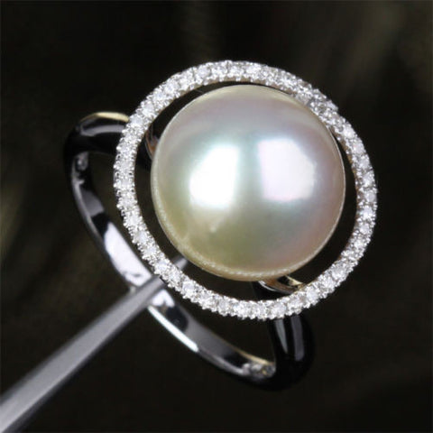 Unique Halo 11mm South Sea Pearls 14K White Gold .35ct Diamonds Engagement Ring - Lord of Gem Rings - 1
