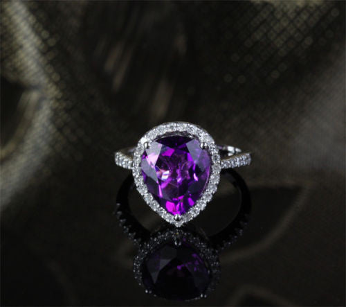Pear Dark Purple Amethyst Engagement Ring Pave Diamond Wedding 14k White Gold 10x12mm - Lord of Gem Rings - 1