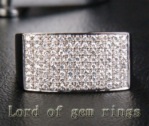 Unique Pave .56ct H/SI Diamond 14K White Gold Wedding Band Engagement Ring 5.91g - Lord of Gem Rings - 1