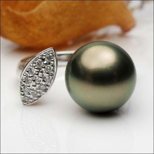 Unique 11mm Black Tahitian Pearl Solid 14K White Gold .21ct Diamonds Ring Size 6 - Lord of Gem Rings - 1