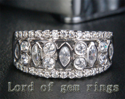Unique Bezel 1.32CT Diamond Wedding Band Ring in 14K White Gold, 9.5mm! - Lord of Gem Rings - 1