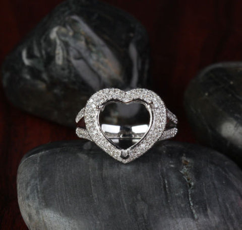 Diamond Engagement Semi Mount Ring 14K White Gold Setting Heart Shaped 11mm - Lord of Gem Rings - 1