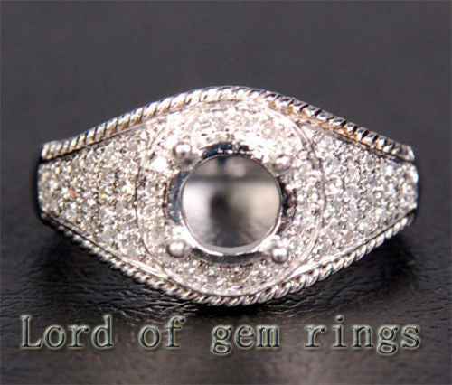Unique 6.5mm Round Cut .25CT Diamonds 14K White Gold Semi Mount Engagement Ring - Lord of Gem Rings - 1